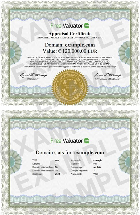 Example appraisal certificate